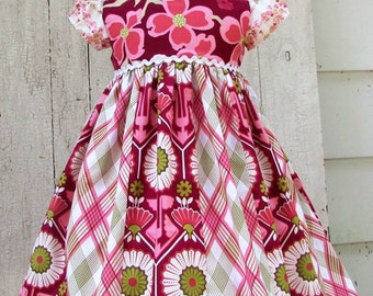 Girl dress  birthday berry stripwork holiday