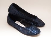 Ready 2 Ship | Size 9 Tiny Sequin Custom Navy Blue Ballet Flats Slippers Shoes