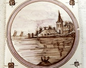 Antique Tile Handpainted under Glaze  scenic Brown and Pink