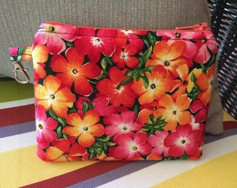 Tropical,  Flowers Zippered Pouch, Coin Purse, pink, orange