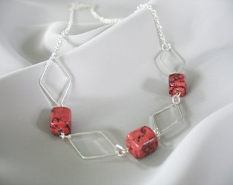 Geometric Necklace Marbled Cubes Black & Coral Silver Diamonds Minimalist Design