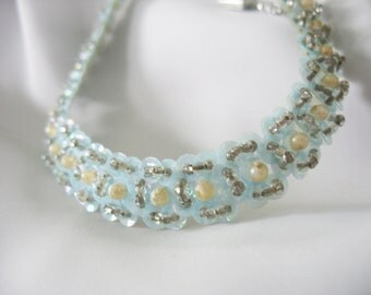 Sequins Choker Necklace Hand Sewn Vintage 1940's Turquoise Blue Pearls