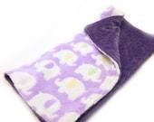 "20"" Elephants Minky Baby Lovey Blanket, Animals Purple   - ready to ship"