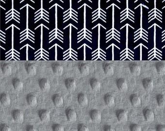 Minky Baby Blanket Boy,  Navy Silver Gray Arrow Personalized Baby Blanket