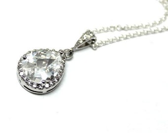 CZ & sterling silver necklace - modern, high fashion, elegant, love, cubic zirkonia, sterling silver, glam, exlusive - Free shipping