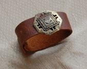 Found object vintage Victorian steampunk inspired leather cuff bracelet