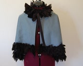 Blue and black tattered and frayed fabric Goth Victorian night circus steampunk ruffle wrap mini cape