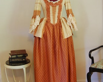 Rust and cream Peasant style day dress Marie Antoinette Victorian inspired rococo costume