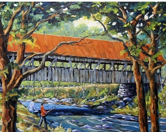 On Sale New England Covered Bridge Oil painting created by Prankearts