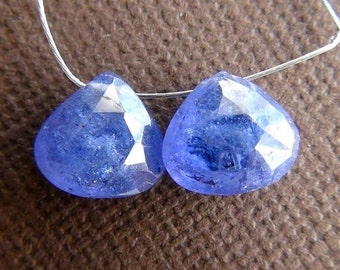35% OFF Periwinkle blue Tanzanite Faceted Heart briolette