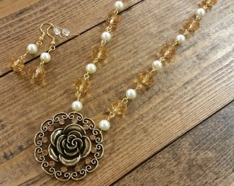 Golden Rose Necklace & Earring Set