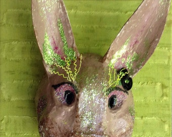 Funny Bunny Paper mache wall decor mask