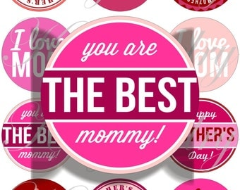 The best mom large circles for pocket mirrors and more -digital collage sheet no. 1612
