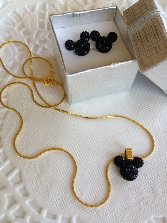 MOUSE EARS Necklace and Earrings Set for Themed Wedding Party in Dazzling Black Resin Acrylic