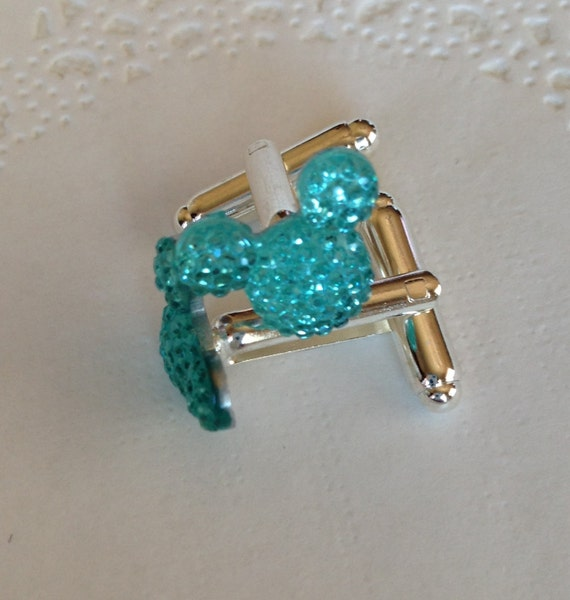 MOUSE EARS Cuff links for Wedding Party in Dazzling Light Aqua Acrylic Groomsmen Gift Themed Wedding Gift Box Included