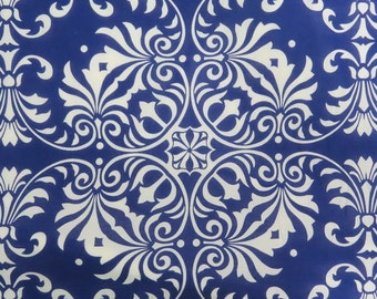 2654 -- Baroque Fabric on Deep Blue, Sheer Cotton Fabric, Light Weight Cotton