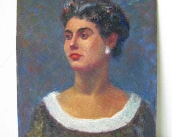 Vintage Portrait Painting of a Woman by Herb Rubinfeld
