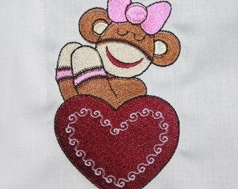 Valentines Sock Monkey Machine Embroidered Quilt Blocks Set B