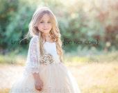NEW! The Grace Dress in Ivory/Champange with Flower Sash - Flower Girl Dress