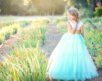 NEW! The Juliet Dress in Ivory Mint and Gold - Flower Girl Tutu Dress