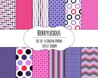Berrylicious Digital Scrapbook Paper 12x12 Pack - Set of 12 - Polka Dots, Chevron, Stripes - Instant Download - Item# 8271