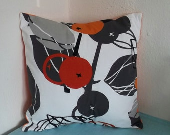 Gray Leaves with Orange Pillow Cover 18x18