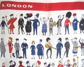 Vintage Tea Towel London People Ulster Linen Elvis Bobby Royal Guard Pets