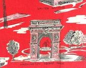 Vintage Tea Towel New York City Souvenir Textile Red Pink