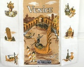 Vintage Towel Venice Italy Gondolas Souvenir Textile