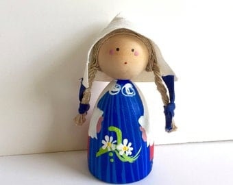 Vintage Girl Figurine Swedish Hand Painted Doll Traditional Costume