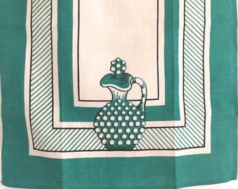 Vintage Tea Towel Glass Hobnail Decanter Victory Label NOS New Old Stock