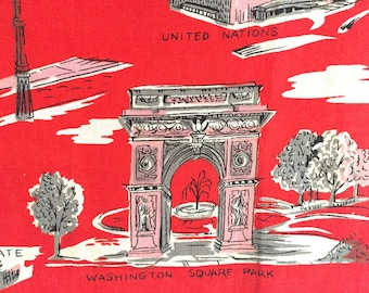 Vintage Tea Towel New York City Souvenir Textile Red Pink