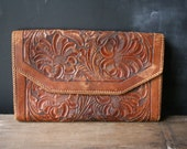 Rustic Rich Hand Tooled Clutch Purse or Portfolio With Leather Insert  and Lining Green Leather From Nowvintage on Etsy