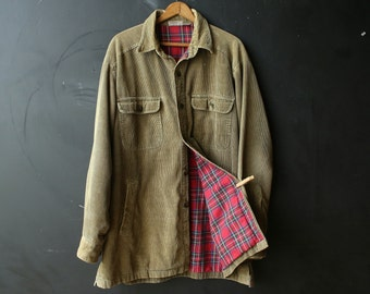 Vintage Farm Coat Jacket Shirt Bohemian Style Flannel Lined Green Corduroy Unisex Vintage From Nowvintage on Etsy
