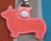 Corgi Key chain Fob Glitter Peach