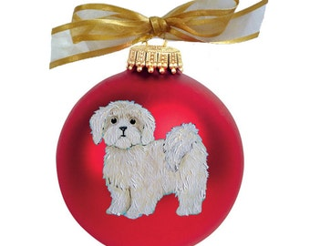 Lhasa Apso Puppy Dog Hand Painted Christmas Ornament - Can Be Personalized with Name