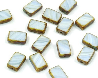 Czech Glass Beads Pastel Blue and White Rectangles Picasso Finish - 15