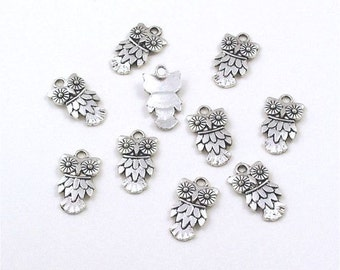 Pewter Owl Charms  Silver Ox 10mm x 18mm - 10