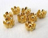 Vintage Flower Cabochons Gold Daisy Metallic Plastic Flatback Japan 6.5 to 7mm pcb0327 (8)