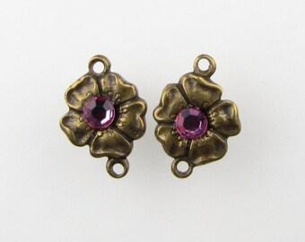 Vintage Swarovski Crystal Rhinestone Flower Connector Charm Pink Antiqued Brass Link Drop Finding uvf0452 (2)