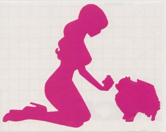 Pomeranian and Pin Up Silhouette, Hot Pink Vinyl Decal
