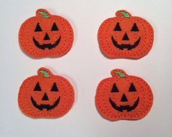 Orange Jack O Lantern Punpkin Halloween Embroidered Felt Applique