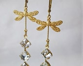 SALE Gold Clear Rhinestone Dragonfly Long Dangle Earrings