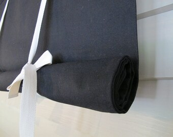 Black Shade with White Ties 60 Inch Long Swedish Roll Up Shade Tie Up Curtain Stage Coach Blind