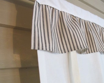 Black Ticking Ruffled Off White Canvas 36 Inch Long Shade Custom Made to Order Tie Up Curtain Swag Balloon