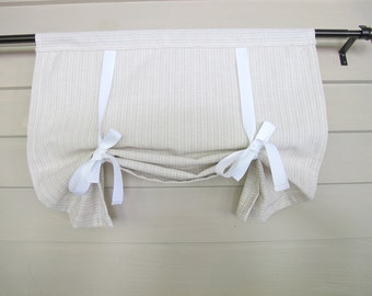 Natural White and Taupe Stripe 60 Inch Long Tie Up Curtain Swedish Roll Up Shade Stage Coach Blind