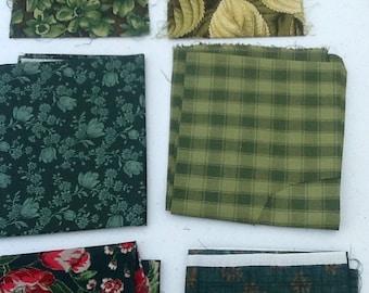 Vintage fabric remnants - greens