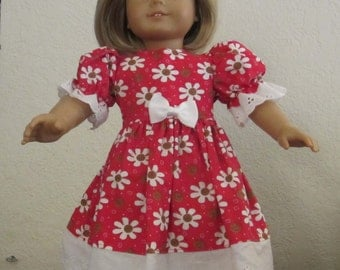 Gingerbread flower dress 18 inch doll clothes