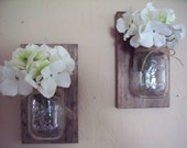 Wall Decor set of 2 mason jars on wood board. Home decor. Bedroom decor. Housewarming gift. Wedding gift.