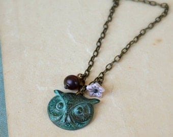 Brass owl charm necklace horn and glass beads woodland autumn fashion verdigris patina - The Wise One